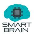 smart brain logo flat style vector image
