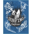 Surfing - set label and elements vector image