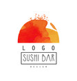 sushi bar logo design japanese food label vector image vector image