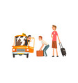 taxi service car driver and passengers cartoon vector image vector image
