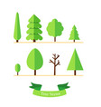 trees set on ground with text ribbon and isolated vector image vector image