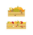 two wooden boxes packed with apples and vegetables vector image vector image