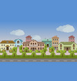 urban landscape set of town houses along city vector image vector image