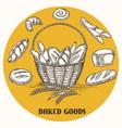 vintage baked goods basket banner vector image