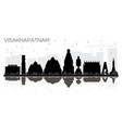 visakhapatnam india city skyline black and white vector image vector image