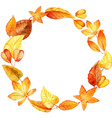 watercolor leaves round frame vector image vector image