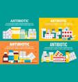 antibiotic banner set flat style