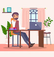 bearded pensive man sitting at table with laptop vector image