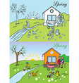 Big family spring nature vector image vector image