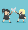 Business woman fight with sword vector image vector image