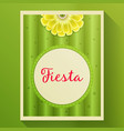 cactus background with with flower and text frame vector image vector image