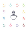 cap of tea flat icons set vector image