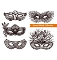 Carnival Mask Hand Drawn Set vector image vector image