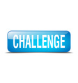 challenge blue square 3d realistic isolated web vector image vector image