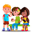 children are sitting and eating cakes vector image vector image