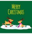Christmas reindeer with horns and scarf skates on vector image vector image