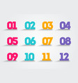 colorful bullet point numbers vector image vector image