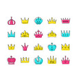 crowns collection - set colorful icons vector image vector image