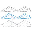 different shapes of clouds on white background vector image vector image