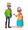 elderly couple grandfather and grandmother vector image vector image
