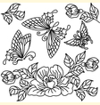 flowers and butterfly 2 vector image vector image