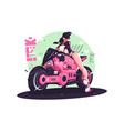 glamour girl biker riding on motorbike vector image