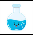 glass test tube or flack emoji icon with blue vector image vector image
