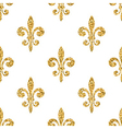 Golden fleur-de-lis seamless pattern white vector image