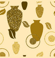 golden seamless pattern with vases vector image vector image