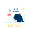 hand drawing whale and ship vector image vector image