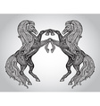 hand drawn couple of horses in graphic ornamental vector image