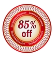 Label on 85 percent discount vector image vector image