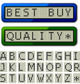 lcd display pixel font - uppercase characters vector image vector image