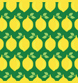 lemons seamless pattern background green vector image