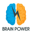 light brain power logo flat style vector image vector image