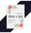 lovely wedding invitation card design vector image vector image