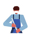 male cleaner using mop janitor wearing mask vector image vector image