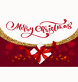 merry christmas lettering red background vector image vector image