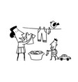 mom clothes drying outlined cartoon handrawn vector image