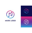 music logo with m letter vector image