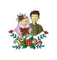 muslim couple wedding card vector image