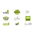 Natural organic bio food labels and logos set