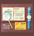 notebook with travel plan and important thing vector image vector image