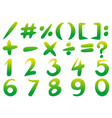 numbers and signs in green color vector image vector image