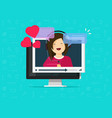 online remote dating concept on computer video vector image