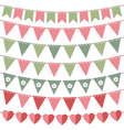 Pink and green bunting set vector image vector image