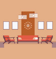 retro interior with sofa frames for copyspace and vector image vector image
