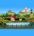 scene with fairies flying in garden vector image vector image