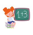 school little girl student sitting on books and vector image