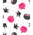 seamless cute pattern with pumpkin bat and pot vector image vector image